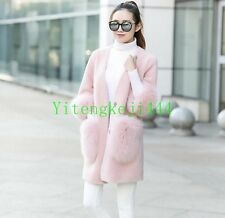 Chic outwear womens coat lamb fur fox fur V collar parka Jacket slim winter new
