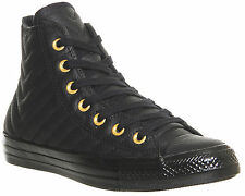 Womens Converse All Star Hi Leather BLACK GOLD QUILTED Trainers Shoes