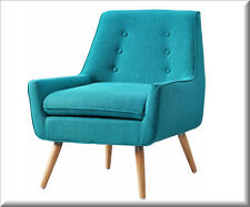 Modern Accent Chair Upholstered Tufted Gray Blue Living Room Bedroom Furniture