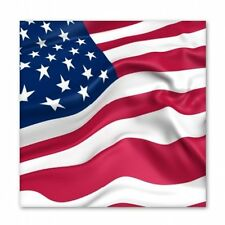 American Flag Waving Square - Vinyl Sticker Decal - SELECT SIZE