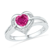Heart Shape Created Pink Sapphire and Diamond Ring Rhodium on Sterling Silver, 5