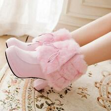 Womens Round Toe High Heels Ankle Boots Rabbit Fur Shoes Platform WARM Pumps New