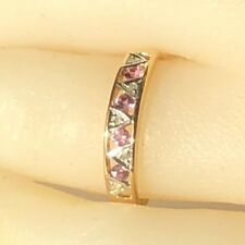 Real Genuine 9ct Yellow Gold Genuine Natural Pink Sapphire Ring
