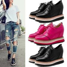 Womens Cow Leather Ankle Boots Platform Wedges Brogue Oxfords Creeper Shoes New