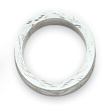 14K White Gold 5mm Swirl Etched Design Wedding Band Ring Sizes 5 - 12