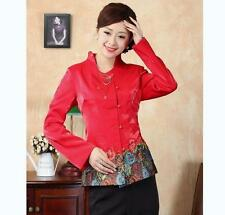 Red Chinese Women's silk embroidery jacket/coat Cheongsam Sz:8 10 12 14 16