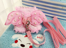 Cute cat dog safety vest leash angel wing Lace Pearl Harness leash