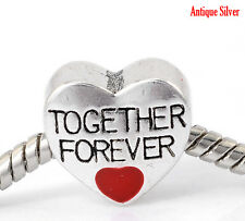 Silver Plated Together Forever Love Red Heart Slide Bead Charm fit Euro Bracelet