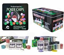 100, 200 or 500 Chips Texas Hold'em Casino Poker Chip Sets In Metal Tin Case