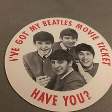 Beatles ORIGINAL UNUSED/UNPUNCHED 1964 HDN Movie Ticket Badge