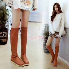 Fashion Flats Pull On Knee High Boots Womens Synthetic Casual Snow Boots Plus Sz