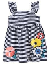 GYMBOREE TROPICAL BREEZE NAVY STRIPED w/ FLOWERS EMBROIDERED DRESS 6 12 NWT