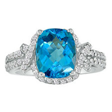 14K WHITE GOLD 4CT FANCY CUT BLUE TOPAZ AND DIAMOND RING