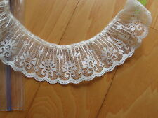"""Ruffled Gathered Lace Sewing Trim 1 7/8"""" Wide Cream Color Polyester 3 Yards"""