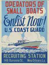 WPA POSTER small boats enlist now! U.S. Coast Guard Recruiting Station c1943