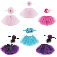CUTE~ Toddler Newborn Baby Girl Tutu Skirt & Headband Photo Prop Costume Outfit