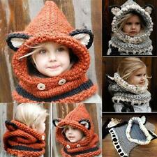 Orange Fox Winter Beanie Kids Boy Girl Warm Hat Hooded Scarf Earflap Knitted Cap