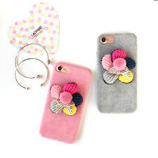 For iPhone 7 7Plus 6 6S Lovely Plush Knitting 5 Colors Folowers Hard Case Cover