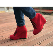 Women's red synthetic suede lace up back zip platform high wedges heels booties