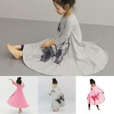 Toddler Baby Girls Long Sleeve Butterfly Dress Casual Dresses Kids Sundress 2-7Y