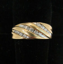 Estate Jewelry Men's 14k Gold Diamond Band Ring 15 Channel Set Stones Three Rows