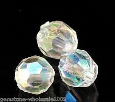 Wholesale Lots Clear AB Color Faceted Acrylic Crystal Spacer Beads 6mmx6mm Dia
