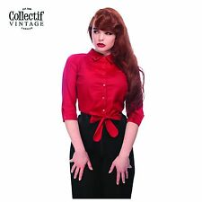 Collectif Ladies Red Tie Blouse Classic Vintage Rockabilly 50's Retro Clothing