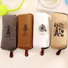 Vintage Canvas Pencil Pen Case Cosmetic Kit Pouch Pocket Brush Holder Makeup Bag