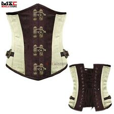 Waist Training Corset Steel Boned Cincher Underbust Steampunk Body Shapewear Top