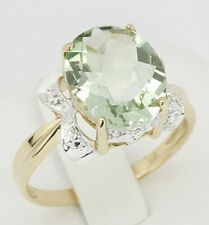 Real  9K Yellow Gold YG 4.31ct Oval Cut Natural Green Amethyst & Diamond Ring