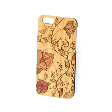 CHERRY WOOD IPHONE CASE WITH RED FLOWER DESIGN, IPHONE 6/6s/6+/6s+/7/7+