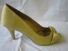 LADIES ANNE MICHELLE PEEP TOE HIGH HEEL SHOE GOLD SATIN