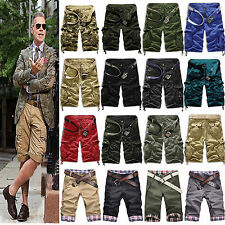 Hot Mens Leisure Army Combat Camo Cargo Work Shorts Pants Sport Sweat Trousers