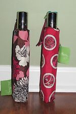 Vera Bradley MOCHA ROUGE or ROSY POSIES Retired Compact One-Touch UMBRELLA NWT