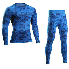 Mens sport camouflage Gym Compression Thermal Underwear set Quick Dry long johns