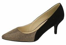 "LADIES ANNE MICHELLE NUDE/BLACK SNAKE PRINT COURT SHOES ""F9776"""