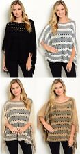 Ms Accessories Open Knit Poncho Fringe Trim Sweater High Low Boho Chic MYF1058