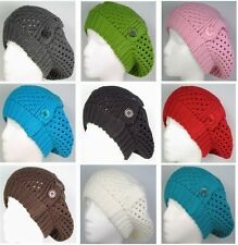 Ladies Fall Knitted Crochet Beret Tam Newsboy Ski Beanie Slouchy Hat / 3 Buttons