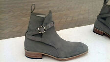 Jodhpurs Gray Men's Suede Leather Hand Made Ankle High Suede Boots Shoes 2016