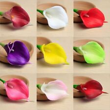 10 Artificial PU Real Touch Calla Lily Flower Wedding Bridal Home Decor Bouquet