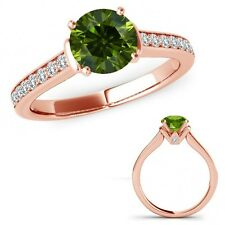 0.75 Carat Green Diamond V Prong Solitaire Ring Eternity Band Set 14K Rose Gold