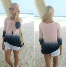 Long Sleeve Top Beautiful Gradient Color Patchwork Blouse Round Collar