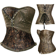 Plus Size Steampunk Corset Top Women Brocade Lace Up Boned Waist Cincher 2-6XL