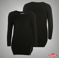 Ladies Designer Lee Cooper Stylish Zip Long Knit Jumper Knitwear Top Size 8-16