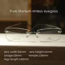 Pure Titanium Mens Eyeglasses Frame women Rimless Glasses Spectacles Optical Rx