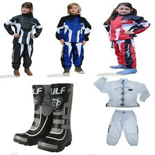 Wulfsport Waterproof Kids Suit Wellies Motocross Quad Trials Child Youth LT PW