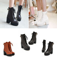 New Womens Punk Studded High Heels Platform Lace-up Ankle Boots Shoes Black Belt