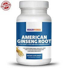 Brain Forza USA 100% American Ginseng Root 90ct For Memory -Blood Sugar Support