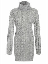 Ladies Womens Cable Knitted Polo Roll Neck Jumper Long Sleeve Stretch Dress 8-14