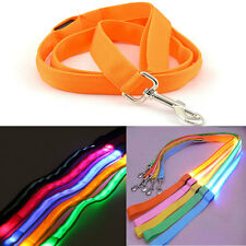 Safety Pet Dog LED Flashing Light Harness Nylon Lead Light Glow Leash Rope Belt